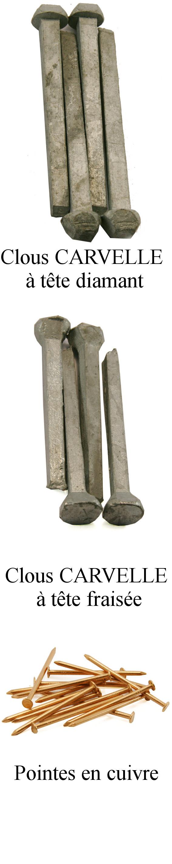 Clous pour les chantiers navals : clous forgés Carvelle, pointes en cuivre